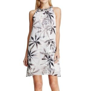 Vince Camuto Embellished-Neckline Leaf-Print Dress